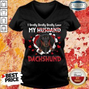 Happy I Really Love My Husband Dog Dachshund V-neck