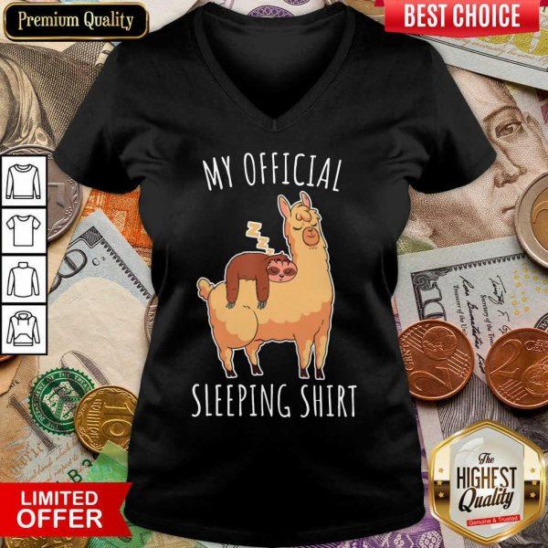 Happy Sloth And Alpaca My Official Sleeping V-neck