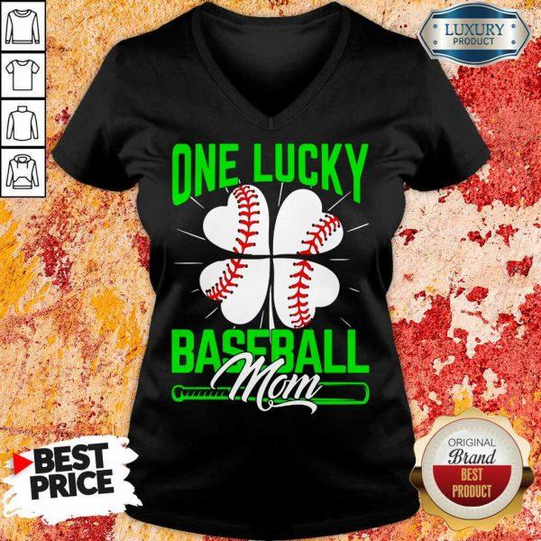 Top One Lucky Baseball Mom V-neck