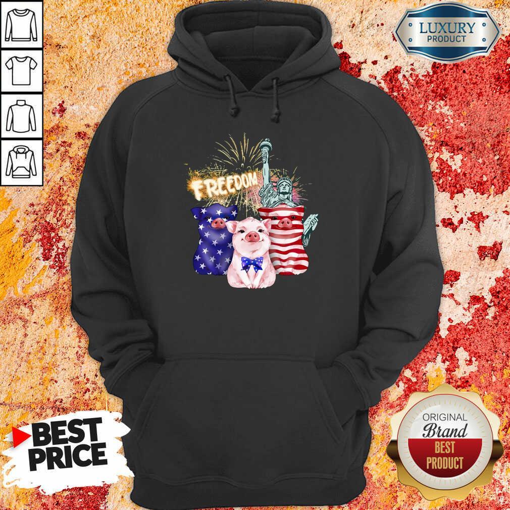 Freedom Pig Statue Of Liberty USA Flag Hoodie