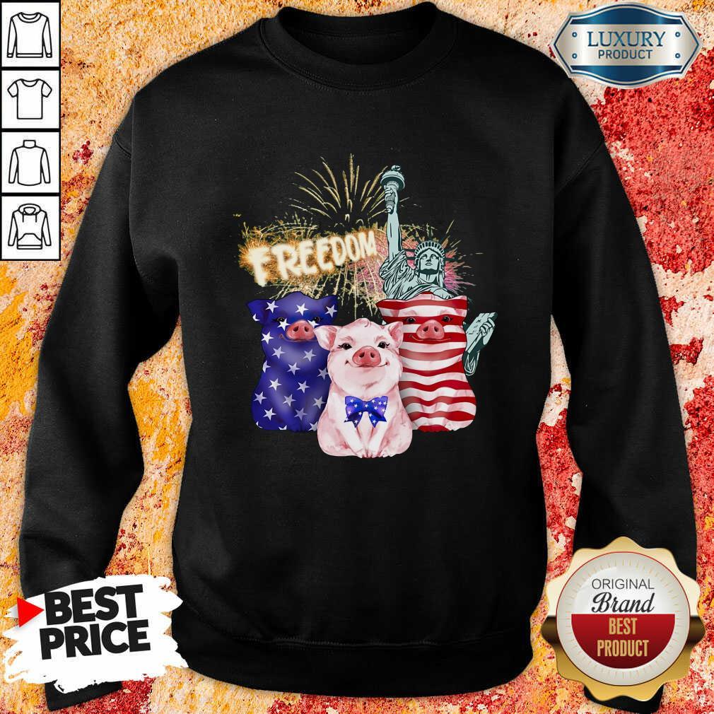 Freedom Pig Statue Of Liberty USA Flag Sweatshirt
