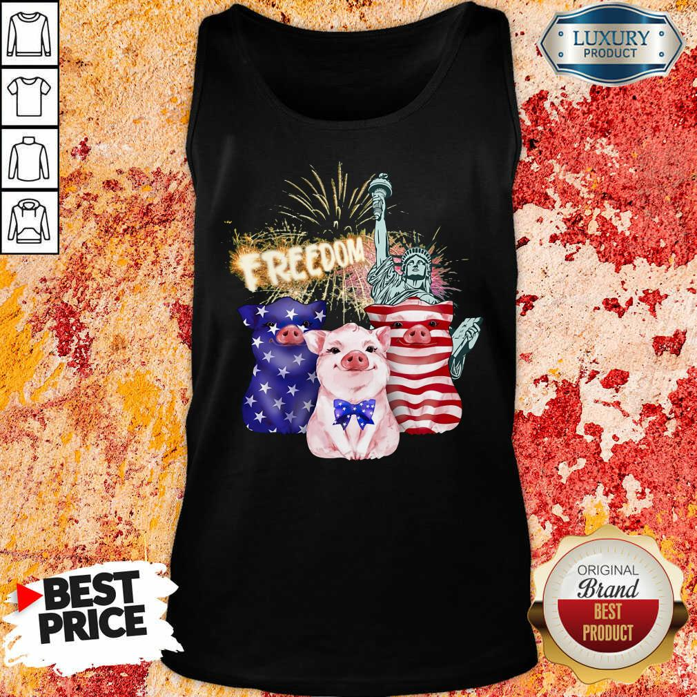 Freedom Pig Statue Of Liberty USA Flag Tank Top