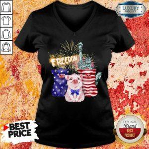 Freedom Pig Statue Of Liberty USA Flag V-neck