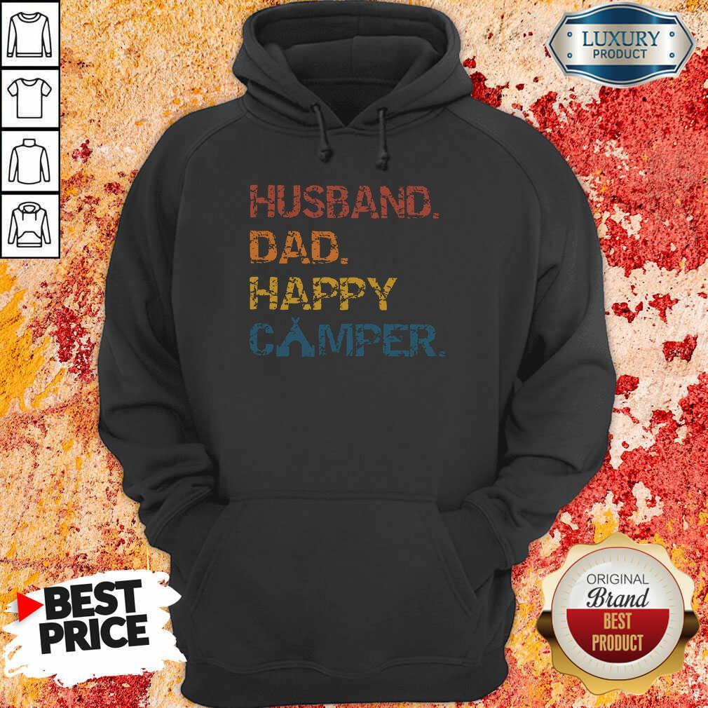 Husband Dad Happy Camper Vintage Hoodie