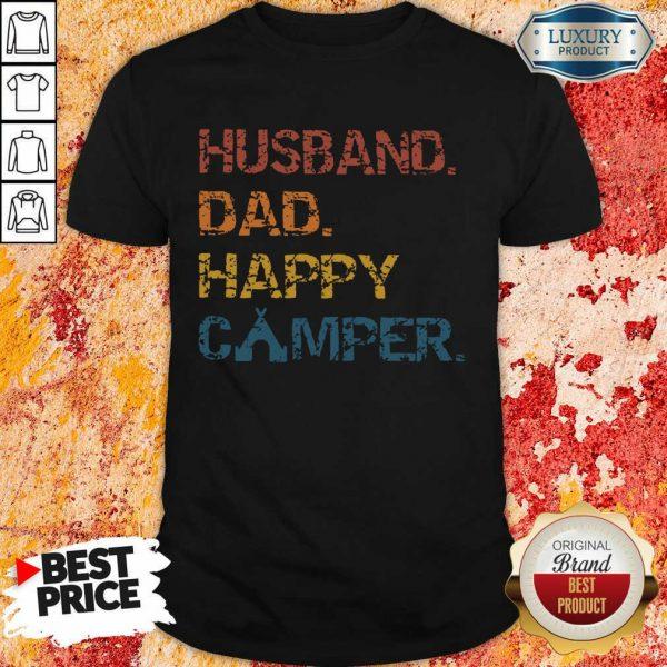 Husband Dad Happy Camper Vintage Shirt