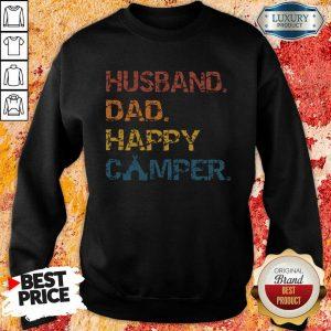Husband Dad Happy Camper Vintage Sweatshirt