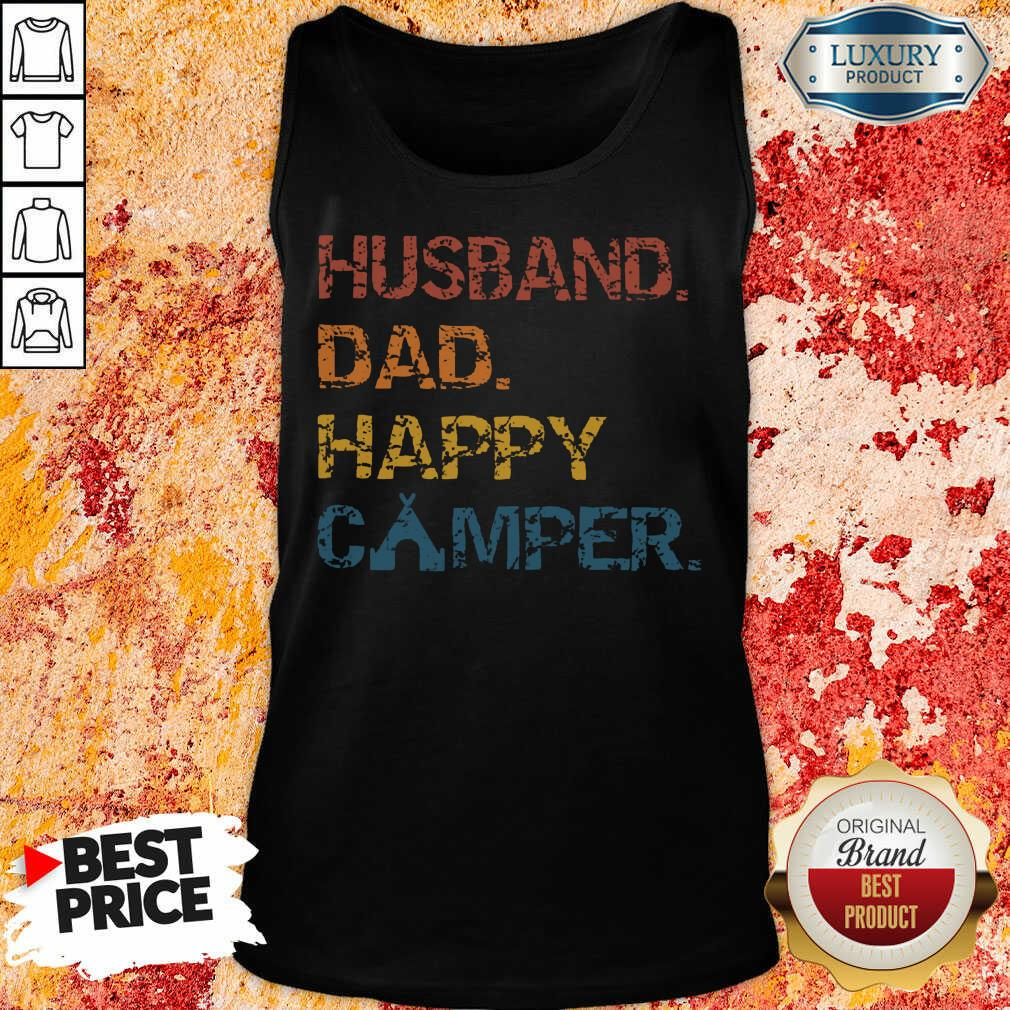Husband Dad Happy Camper Vintage Tank Top