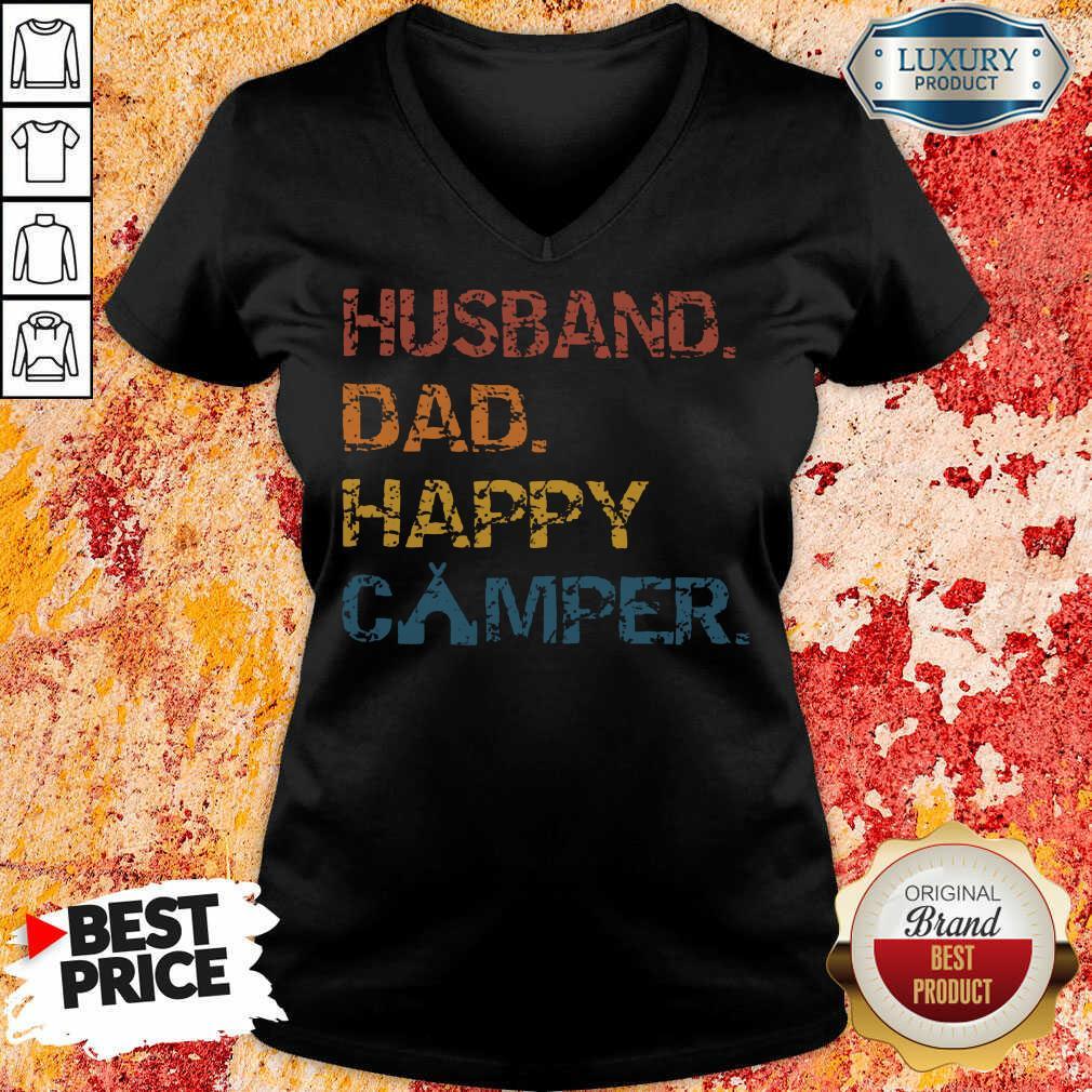 Husband Dad Happy Camper Vintage V-neck