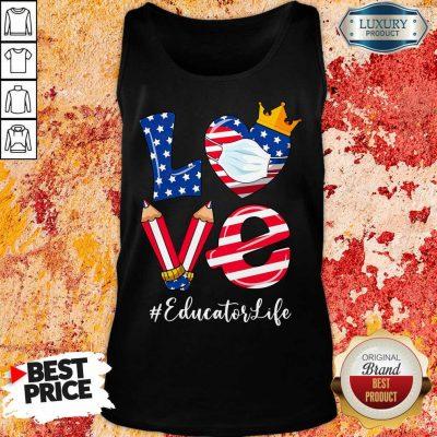 Love American Flag Educator Life Tank Top