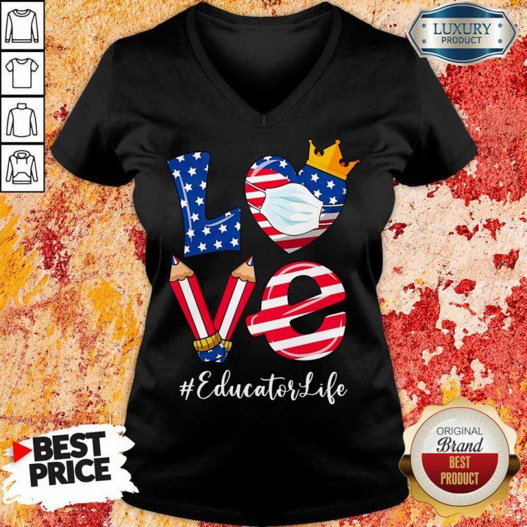 Love American Flag Educator Life V-neck