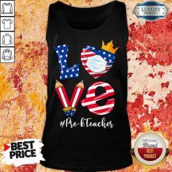 Love American Flag Pre-K Teacher Tank Top