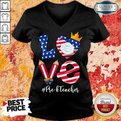 Love American Flag Pre-K Teacher V-neck
