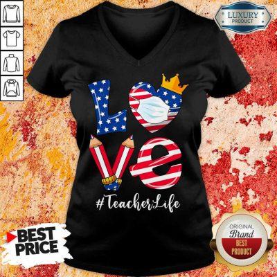 Love American Flag Teacher Life V-neck