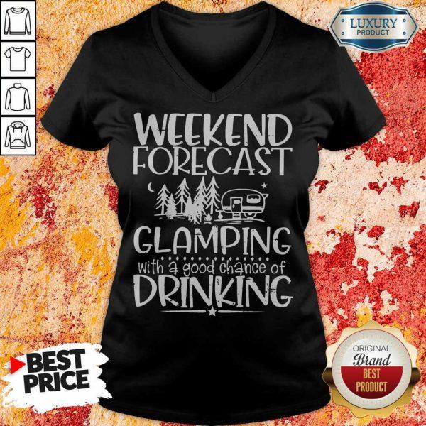 Weekend Forecast Glamping Drinking V-neck