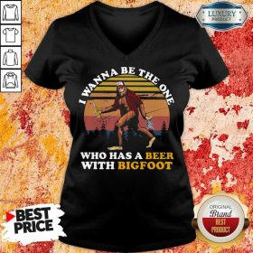 Who Has A Beer With Bigfoot V-neck